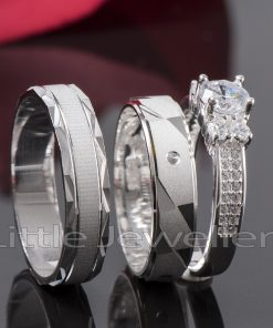 Sparkle and shine with this set of wedding rings for him & her