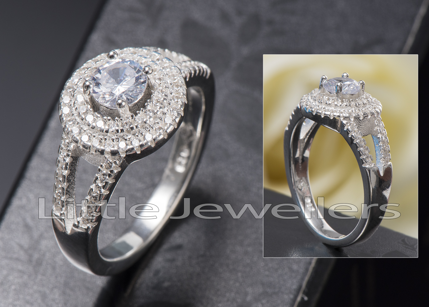Elegant and sophisticated Sterling silver engagement ring