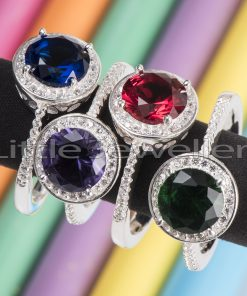 Silver birthstone rings