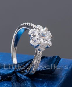 sterling silver flower engagement ring