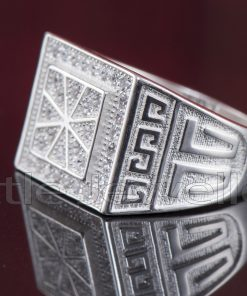 Micro-Paved Sterling Silver Male Ring