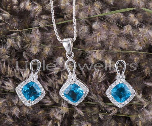 Aquamarine earrings and necklace set