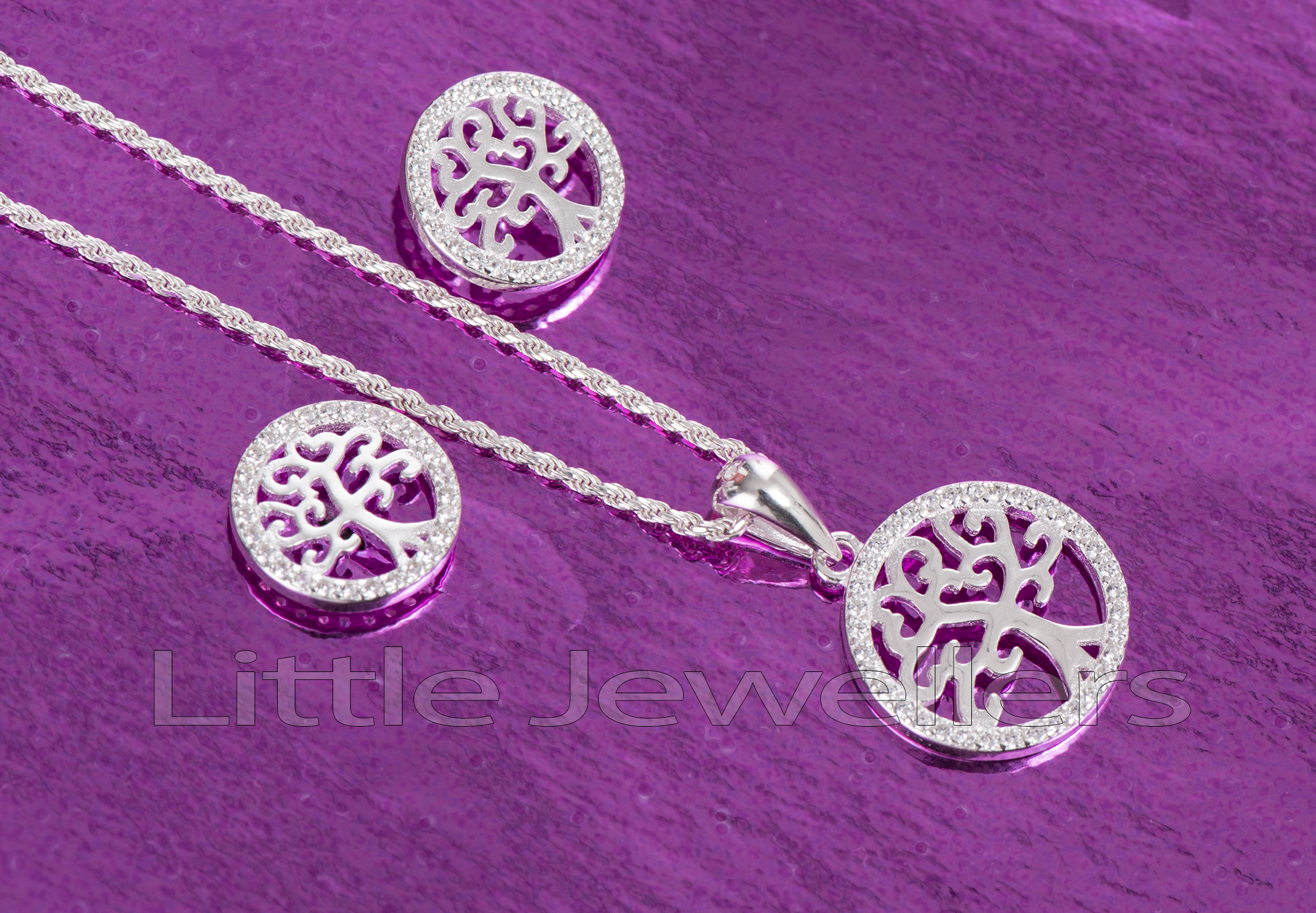 silver tree of life necklace set