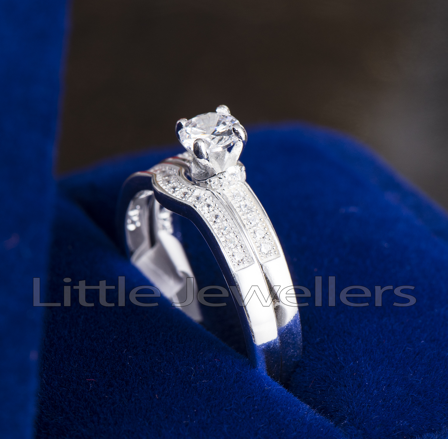 double silver engagement ring