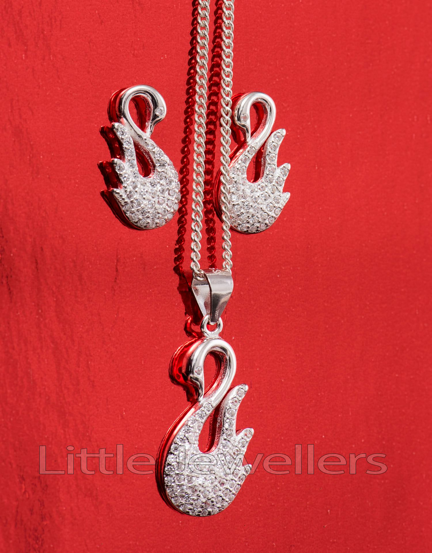 silver swan necklace set