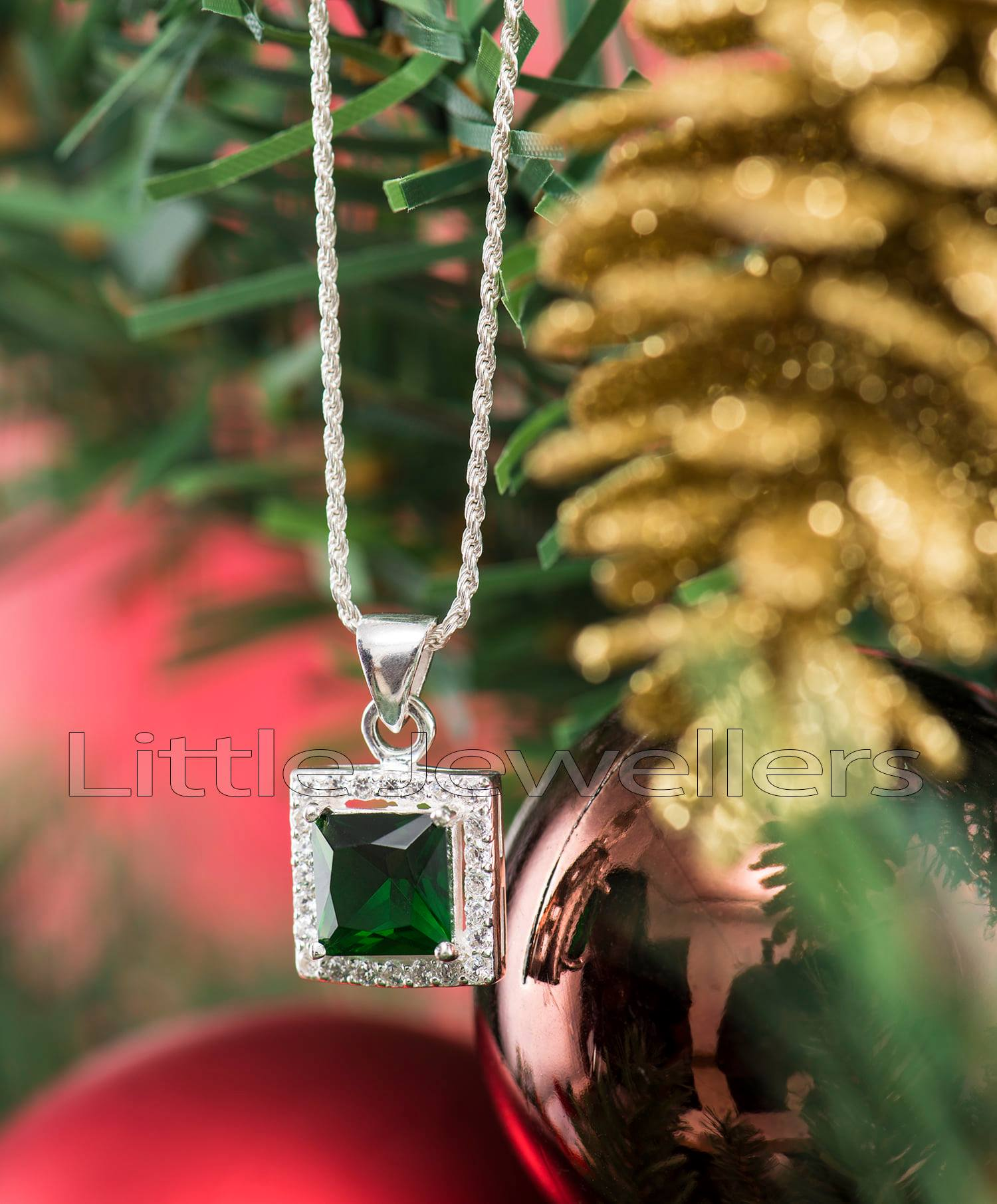 Green Cz Emerald Necklace