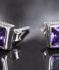 Amethyst Pure Silver Studs Earring