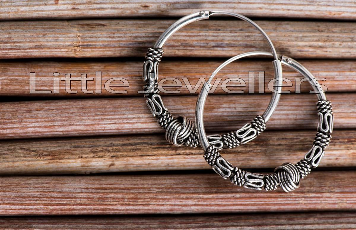 Sterling Silver Bali Hoop Earrings For Her.