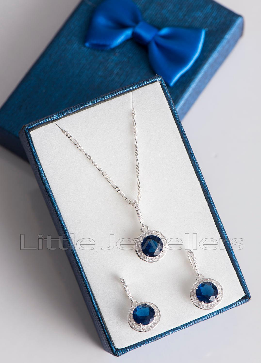 sapphire blue round cut cz necklace and earrings set