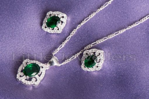 Sterling silver emerald pendant necklace and earring set