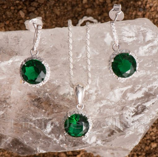silver emerald green necklace set