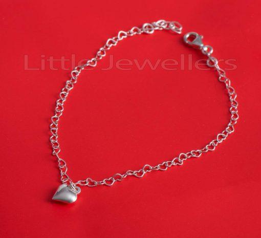 Heart Sterling Silver Anklet