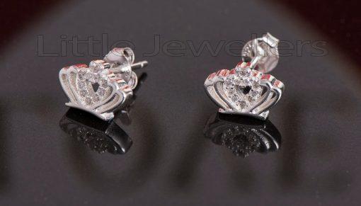 Sterling Silver Cz Crown Stud Earrings