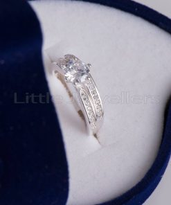 Micro paved Double Engagement Ring