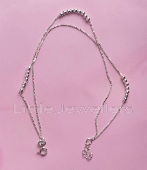 Double Strand ball Silver Anklet