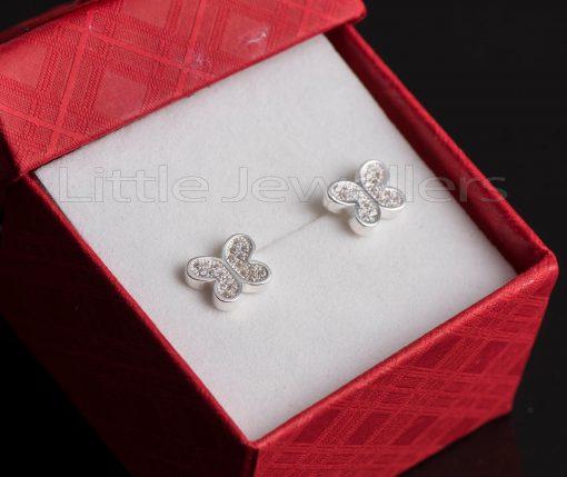 A feminine & elegant pair of petite butterfly stud earrings