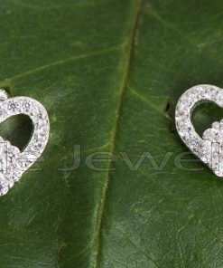 A gorgeous pair of heart shaped silver stud earrings