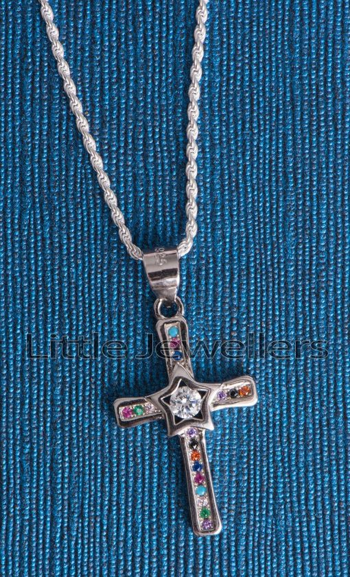 multicolored cross necklace