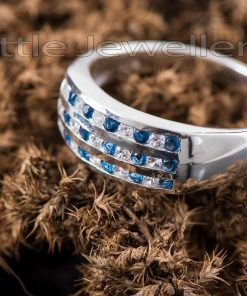 A Simple & Elegant Sterling Silver Blue Ring