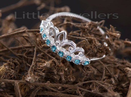 Sterling Silver Aquamarine Crown Promise Ring