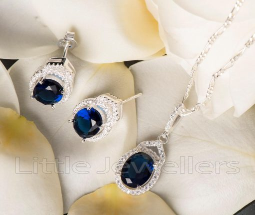 A simple, everyday necklace, that has matching blue silver earrings