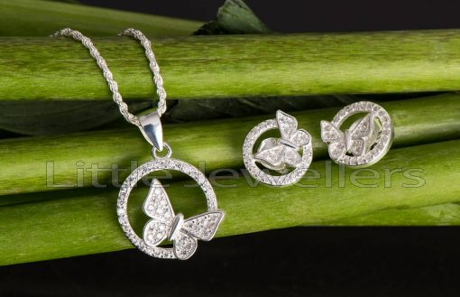 Sterling silver butterfly necklace set, suitable gift for any occasion