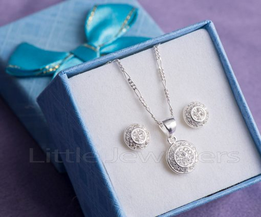 SMALL PENDANT AND EARRINGS SILVER NECKLACE SET