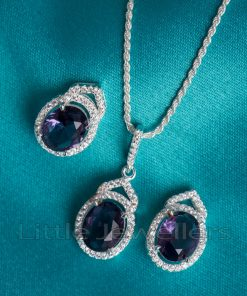 Make a statement with this purple amethyst pendant & earring necklace