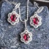 A timeless & classic red sterling silver necklace set