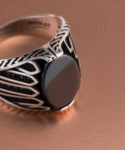 Oxidized Silver Male Ring