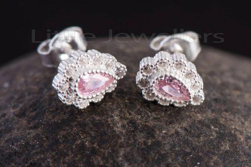 stunning pink pear shaped stud earrings