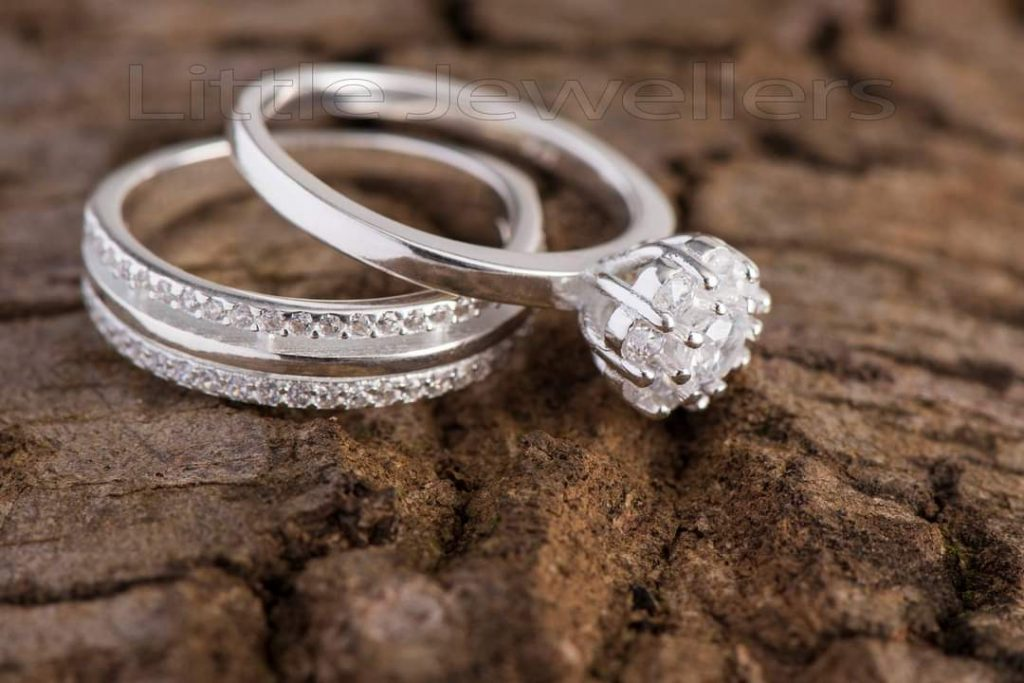 Double Engagement silver ring