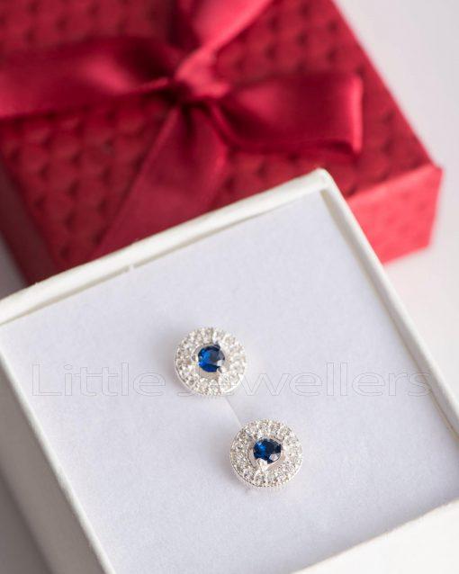 sterling Silver Cubic Zirconia Blue centre Stud Earrings