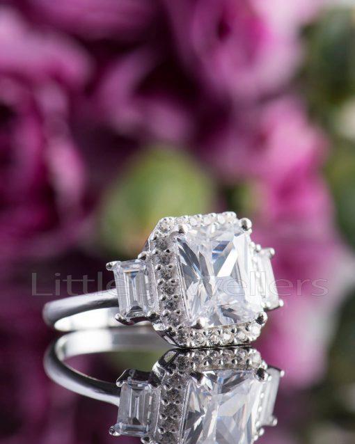 sparkling cubic zirconia emerald cut engagement ring