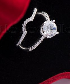 Round Cathedral style Double Silver Engagement Ring