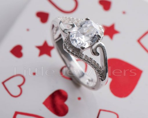 Sterling Silver Oval Shaped Engagement Ring
