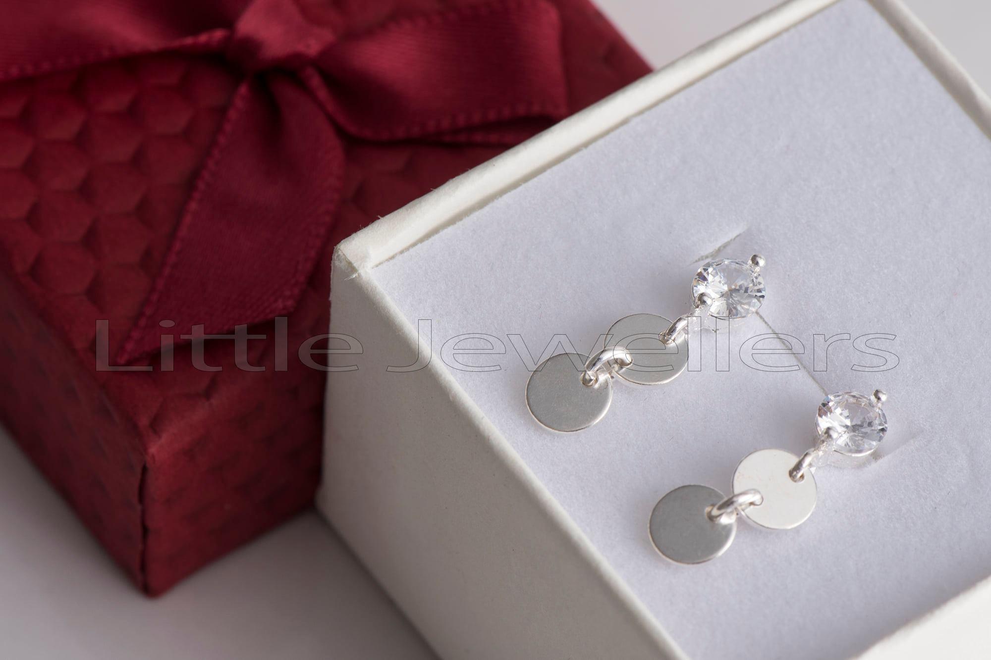 Delicate & minimal cubic zarconia silver drop earrings