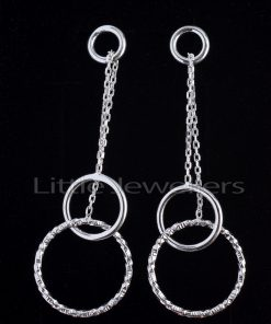 drop earrings with a double silver chain