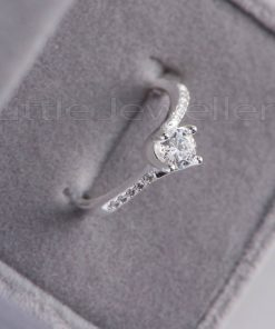 An exquisite sterling silver twisted engagement ring
