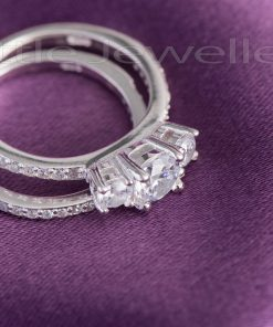 A glamorous and gleaming three stone engagement ring