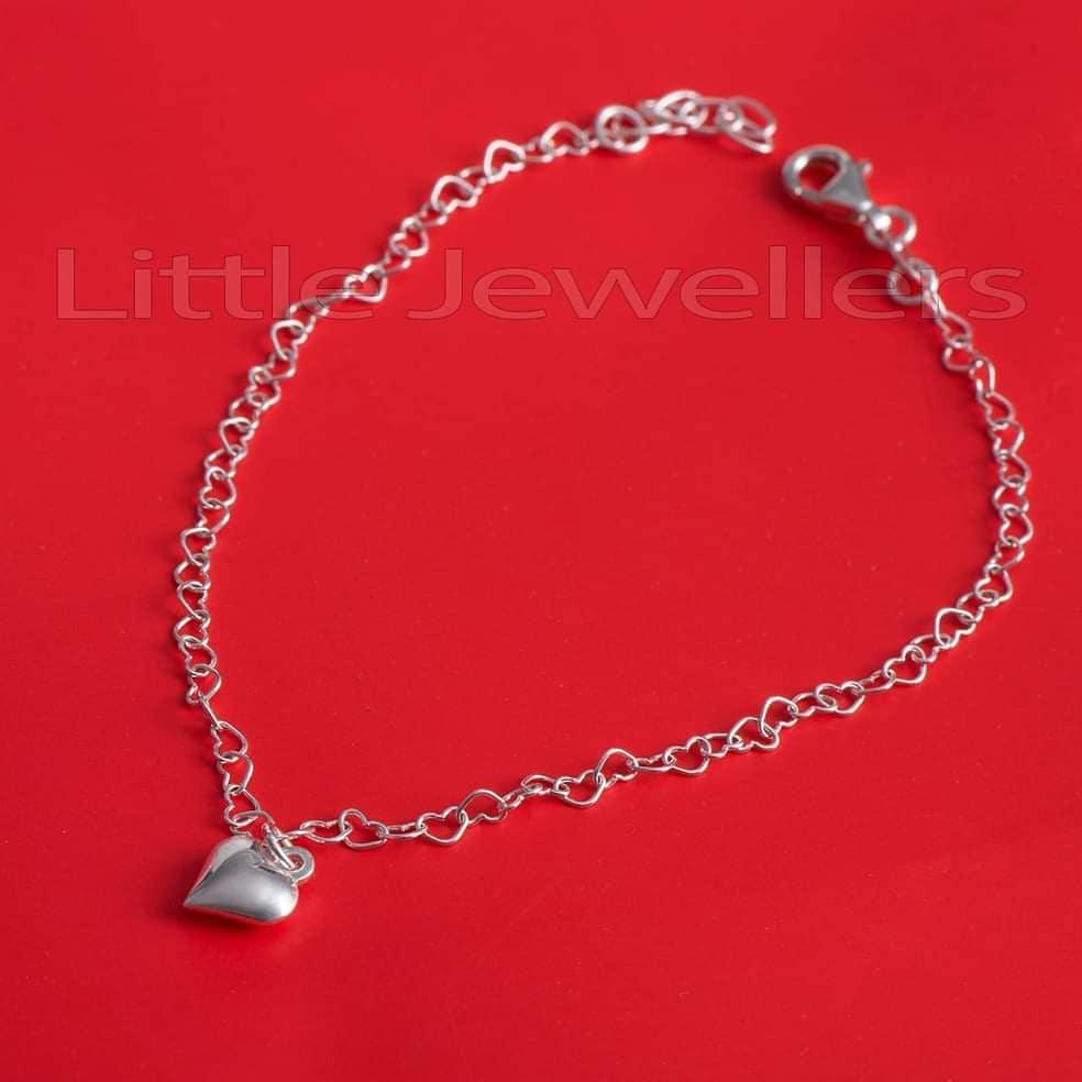 silver heart ankle bracelet