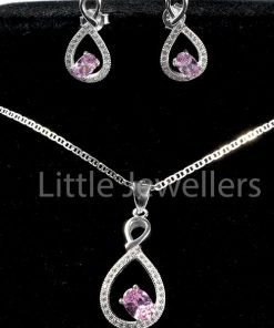 This shimmering necklace and stud earring set is crafted in sterling silver