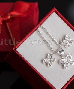 A delightful butterfly necklace & matching earring set.