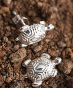 A lovely pair of sterling silver turtle shaped earrings