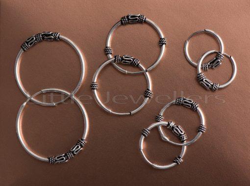 Balinese inspired Handmade Silver loop earrings