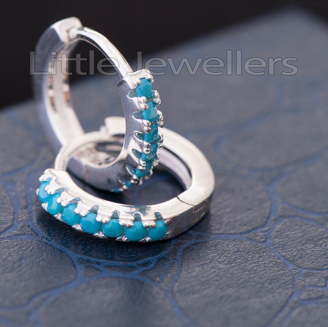 Magnificent Silver Aqua Blue Loop Earrings
