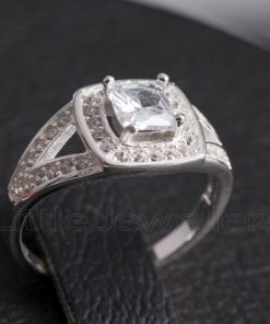 A meticulously crafted Halo design splint shank engagement ring