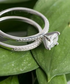 A modern & intricate sterling silver double engagement ring that she will treasure forever.