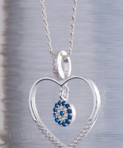 A fine and elegant 925 sterling silver heart shaped necklace with a blue charm center
