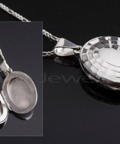 An enchanting oval shaped locket necklace that makes a lovely treasure to carry a photo of someone you cherish.